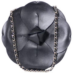 Chanel Leather Camellia 2 Way Evening Clutch Black