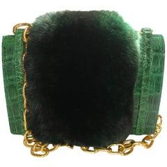 WON-DER-FULL Mink Fur & Crocodile mini Shoulder Bag Nancy Gonzales  / LIKE NEW