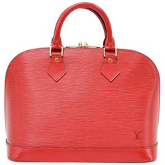 Vintage Louis Vuitton Alma Red Epi Leather Hand Bag
