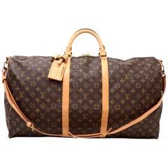 Vintage Louis Vuitton Keepall 60 Bandouliere Monogram Canvas Duffel Bag + Strap