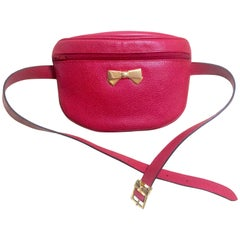 MINT. Vintage Nina Ricci red grained leather waist purse, fanny pack, clutch bag