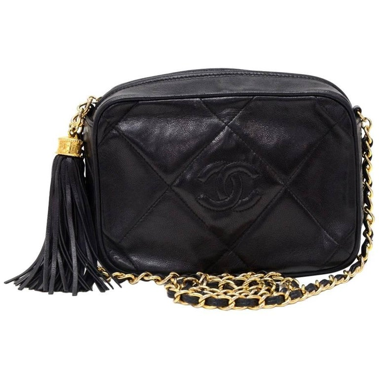 Vintage Chanel 7  Black Quilted Leather Fringe Shoulder Pochette ... : vintage chanel quilted shoulder bag - Adamdwight.com