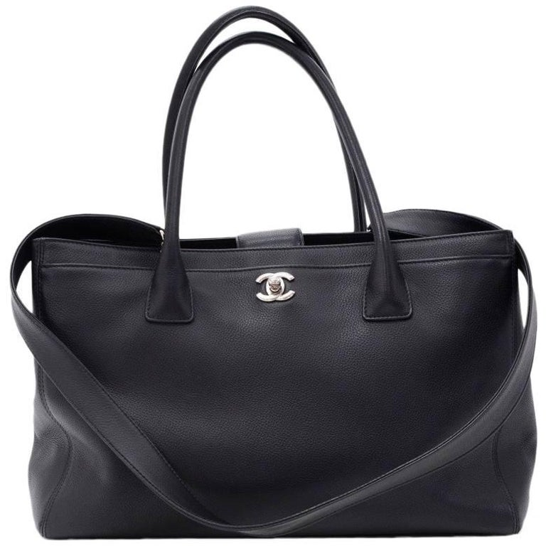 """Chanel 14"""" Black Caviar Leather 2Way Bag + Pouch"""