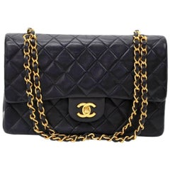 "Chanel 2.55 10"" Double Flap Black Quilted Leather Shoulder Bag"