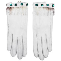 Vintage HERMES Gloves in White Lamb Leather Size 6.5