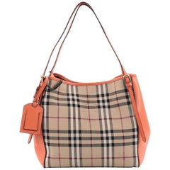 Burberry Canterbury Tote Horseferry Check Canvas and Leather Small