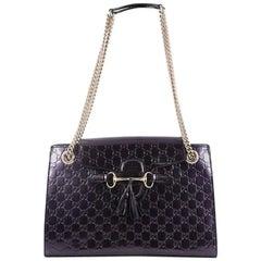 Gucci Emily Chain Flap Shoulder Bag Guccissima Patent Large