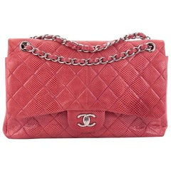 Chanel Classic Quilted Lizard Jumbo Double Flap Bag