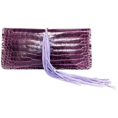 BALMAIN Clutch in Amethyst Colored Crocodile Porosus with Mauve Suede Fringes