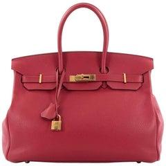 Hermes Birkin Handbag Rouge Casaque Clemence with Gold Hardware 35