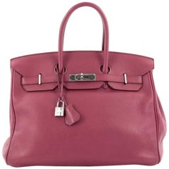Hermes Birkin Handbag Bose de Rose Clemence with Palladium Hardware 35