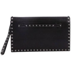 Valentino Rockstud Flap Clutch Leather