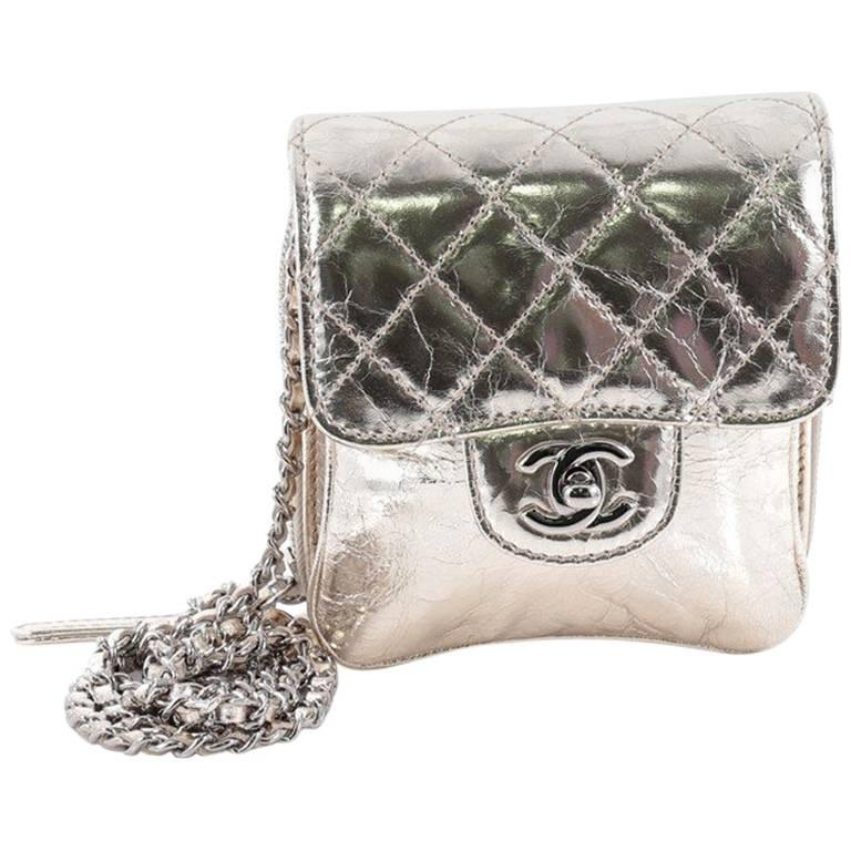 8cee8810eac5 Chanel Wallet on Chain Flap Quilted Metallic Calfskin Mini at 1stdibs