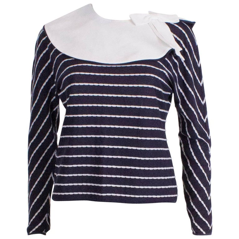 Blue and White Valentino Top with Detachable Collar