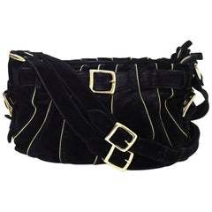 Chloe Black & Gold Suede Crossbody Bag with DB