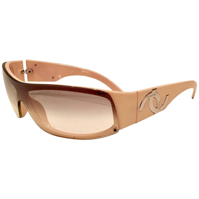 """Chanel Pink & Chrome """"CC"""" Logo Infinity Sunglasses For Sale"""