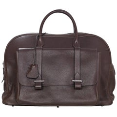 Hermes Cacao Brown Clemence Leather Steve 45 Travel Bag NEW w/ DB