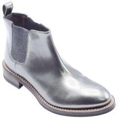 Brunello Cucinelli Women Metallic Leather Silver Ankle Boots