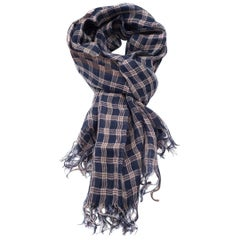 Brunello Cucinelli Womens 100% Linen Navy & Brown Plaid Scarf