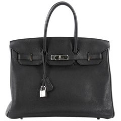 Hermes Birkin Handbag Black Togo with Palladium Hardware 35