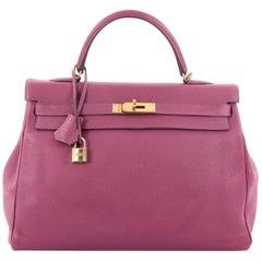 Hermes Kelly Handbag Tosca Togo with Gold Hardware 35