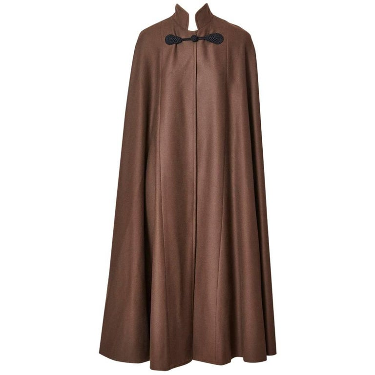 Yves saint Laurent Wool Cape with Mandarin Collar For Sale
