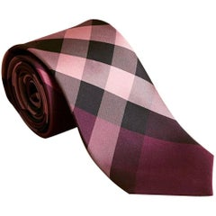 "Burberry Modern Cut Check Silk Rose Pink Tie - Size: 3"" (8cm)"