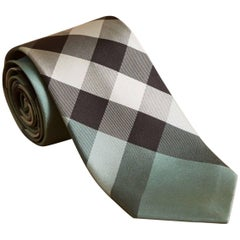 "Burberry Modern Cut Check Silk Sea Green Tie - Size: 3"" (8cm)"