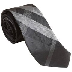 "Burberry Modern Cut Check Silk Dark Charcoal Tie - Size: 3"" (8cm)"