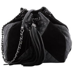 Chanel Patchwork Quilted Leather and Suede Small Drawstring Bag