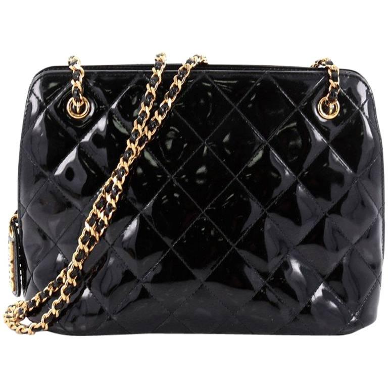 2127587700 Chanel Vintage Zip Chain Shoulder Bag Quilted Patent Small at 1stdibs