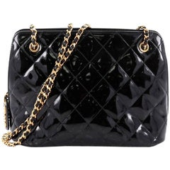 Chanel Vintage Zip Chain Shoulder Bag Quilted Patent Small