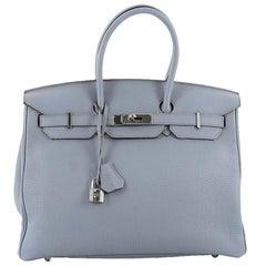 Hermes Birkin Handbag Bleu Lin Togo with Palladium Hardware 35