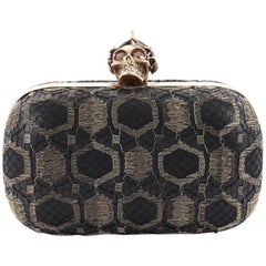 Alexander McQueen Skull Box Clutch Lace and Leather Small
