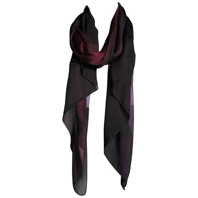 burberry ombre check silk plum scarf for sale at 1stdibs