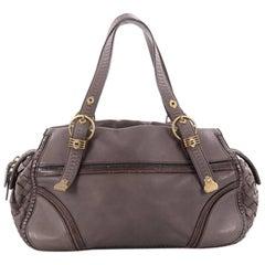 Bottega Veneta Buckle Zip Satchel Leather with Intrecciato Detail Medium