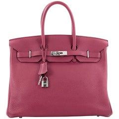 Hermes Birkin Handbag Rubis Clemence with Palladium Hardware 35