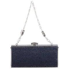 Judith Leiber Chain Minaudiere Box Clutch Crystal Long