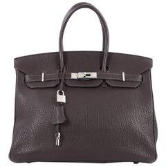 Hermes Birkin Handbag Ebene Fjord with Palladium Hardware 35
