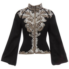 Alexander McQueen Black Wool Zip Front Embroidered Jacket, Circa 2004