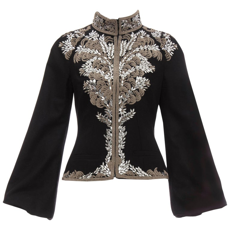 Alexander McQueen Black Wool Zip Front Embroidered Jacket, Circa 2004 For Sale
