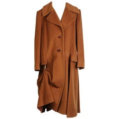 Hermes Tan Cashmere Coat with Hook Drape