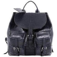 Ralph Lauren Collection Two Pocket Drawstring Backpack Crocodile Medium