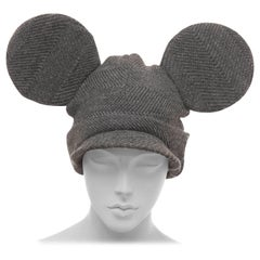 Comme des Garcons Stephen Jones Grey Wool Herringbone Mouse Ears Hat, Fall 2013