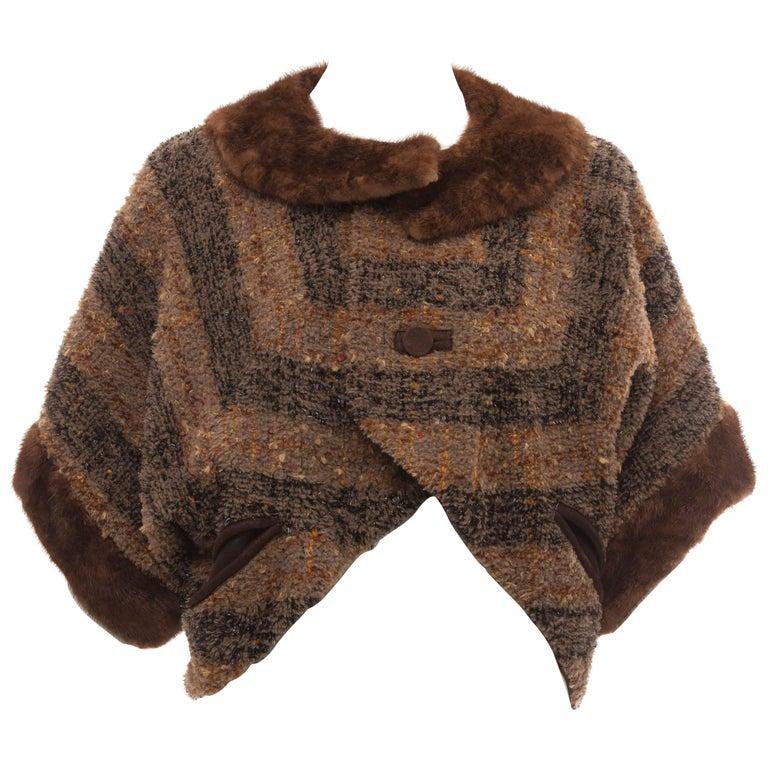 Olivier Theyskens Runway Brown Metallic Tweed Cropped Jacket Fur Trim, Fall 2001 For Sale