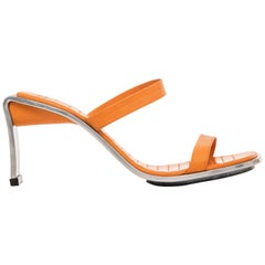 Charles Jourdan Tangerine Leather And Stainless Steel Shoe, Circa 1980's