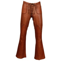 1970s Vintage North Beach Leather Handmade Lace Up Whip Stitch Bell Bottom Pants
