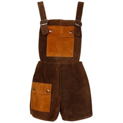1970s Vintage Two-Tone Brown Suede Leather Shorts Overalls Onesie