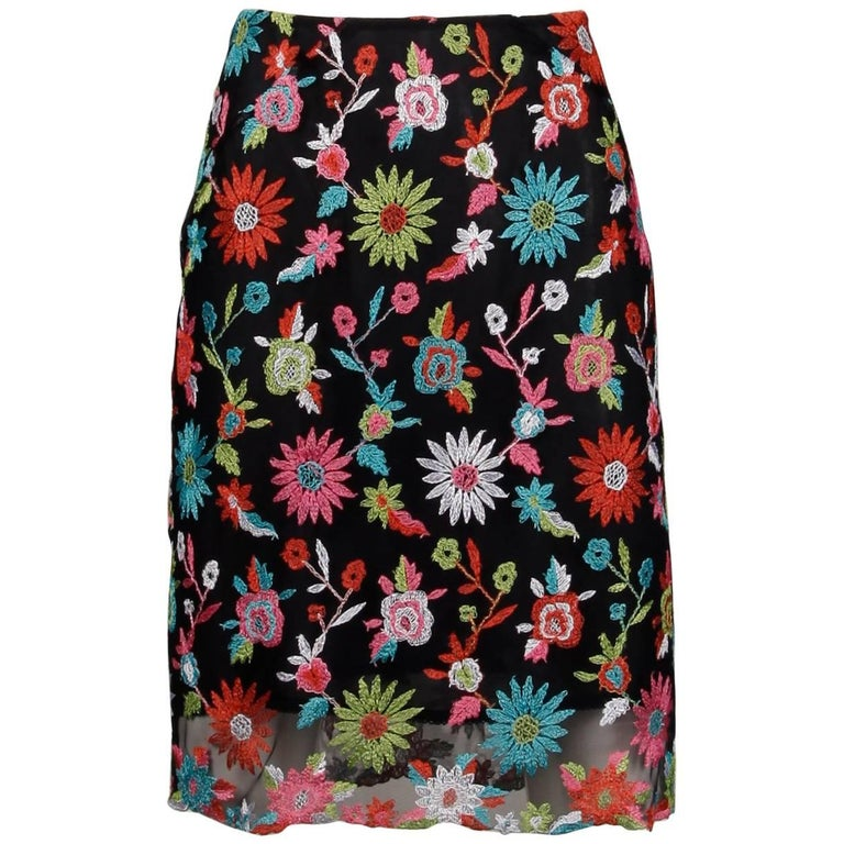 1990s Christian Lacroix Vintage Embroidered Flower Mesh Skirt