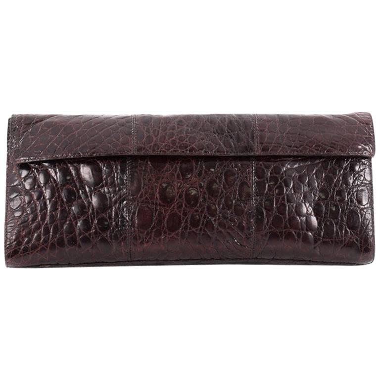 Nancy Gonzalez Flap Clutch Crocodile Long